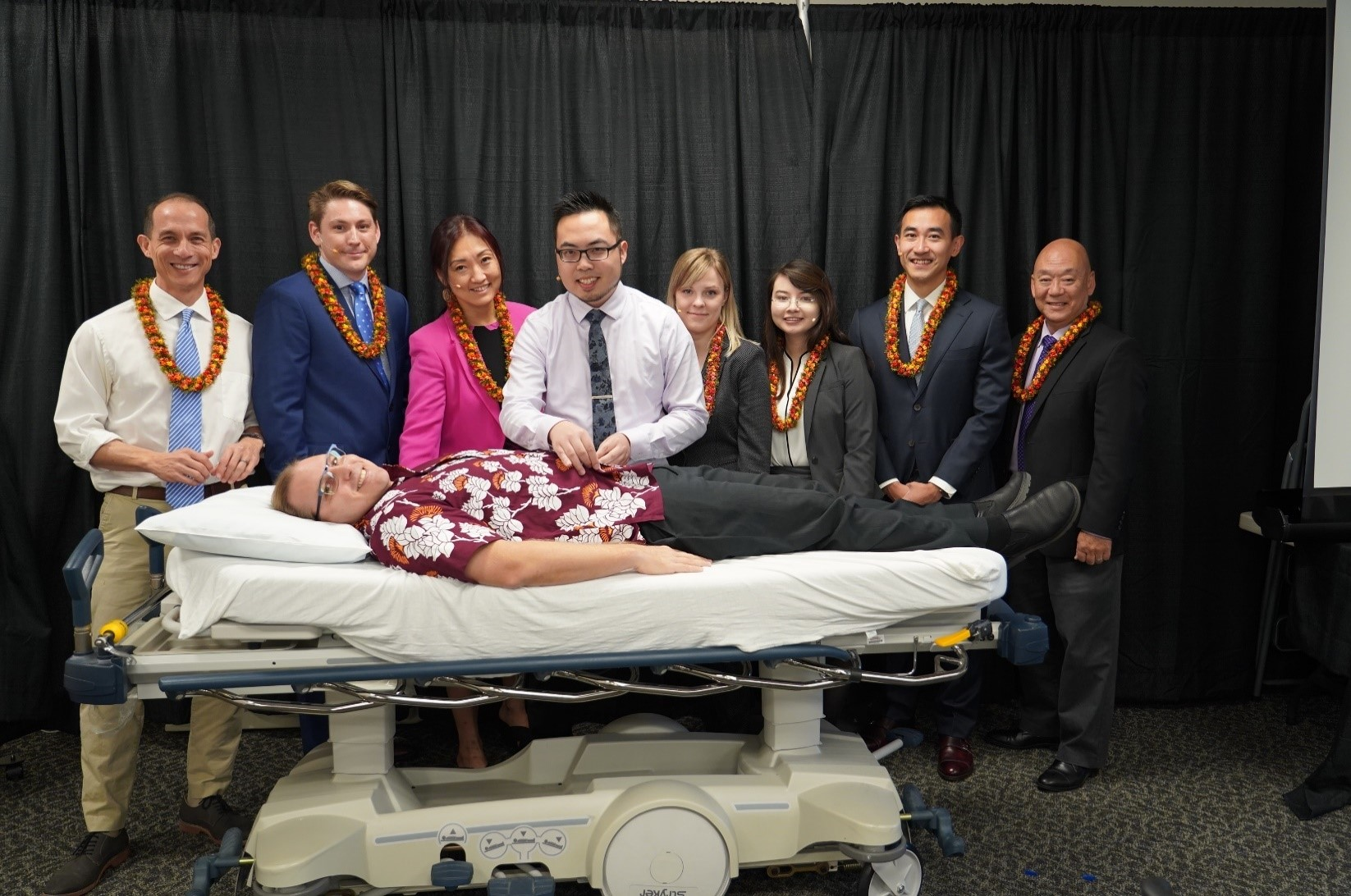 "Pictured, L-R (Standing): Tarquin Collis, MD (AMD, Medical Specialties; Chief, Infectious Disease); John Neighbors, MD; Diana Kim, MD; Henry Lew, MD (Chief Resident, Inpatient); Patrycja Ashley, MD; Katharine Wong, MD;Yue ""Lei"" Fang, MD; Mitch Motooka, MD (Program Director). (Lying Down): Philip Verhoef, MD, PhD (Assoc Program Director)."